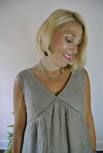 olive vneck sleeveless top