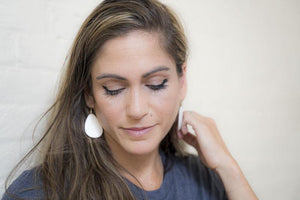 lightweight teardrop leather earrings