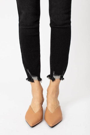 Kan Can High Rise Distressed Ankle Black Skinny Jeans