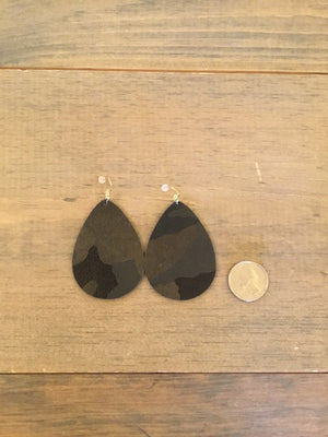 leather camo teardrop earrings