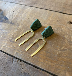 olive clay earrings with metal accent