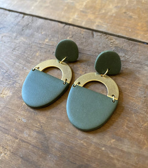 olive green clay earrings metal accent