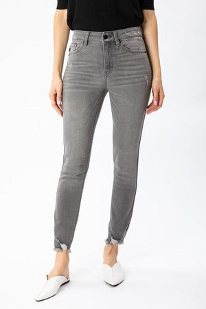 grey distressed skinny jeans Kan Can