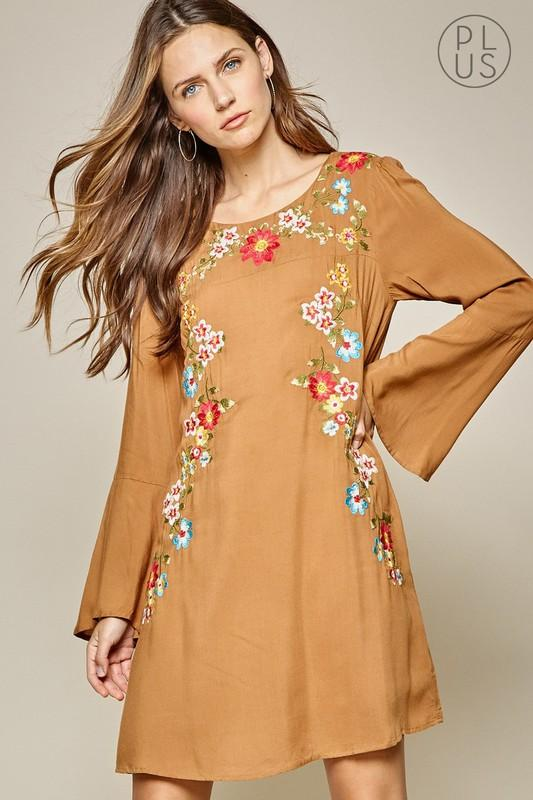 Mustard Embroidered Dress - Plus