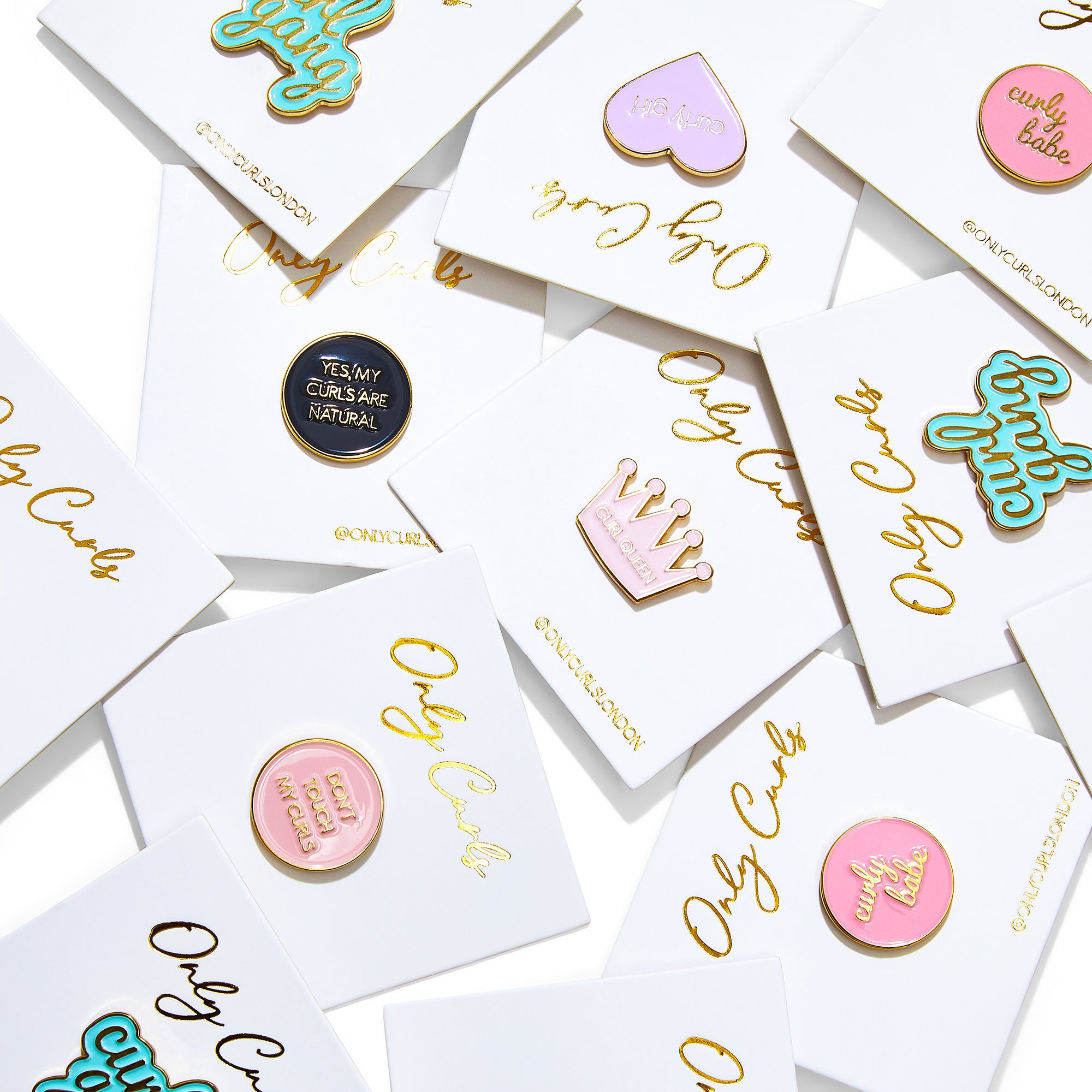 Only Curls Curly Pin Badges