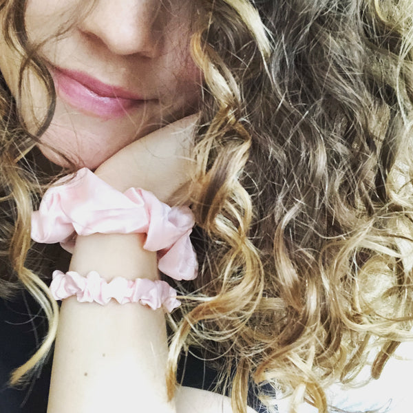 Silk Scrunchies Pink - Mini - Only Curls