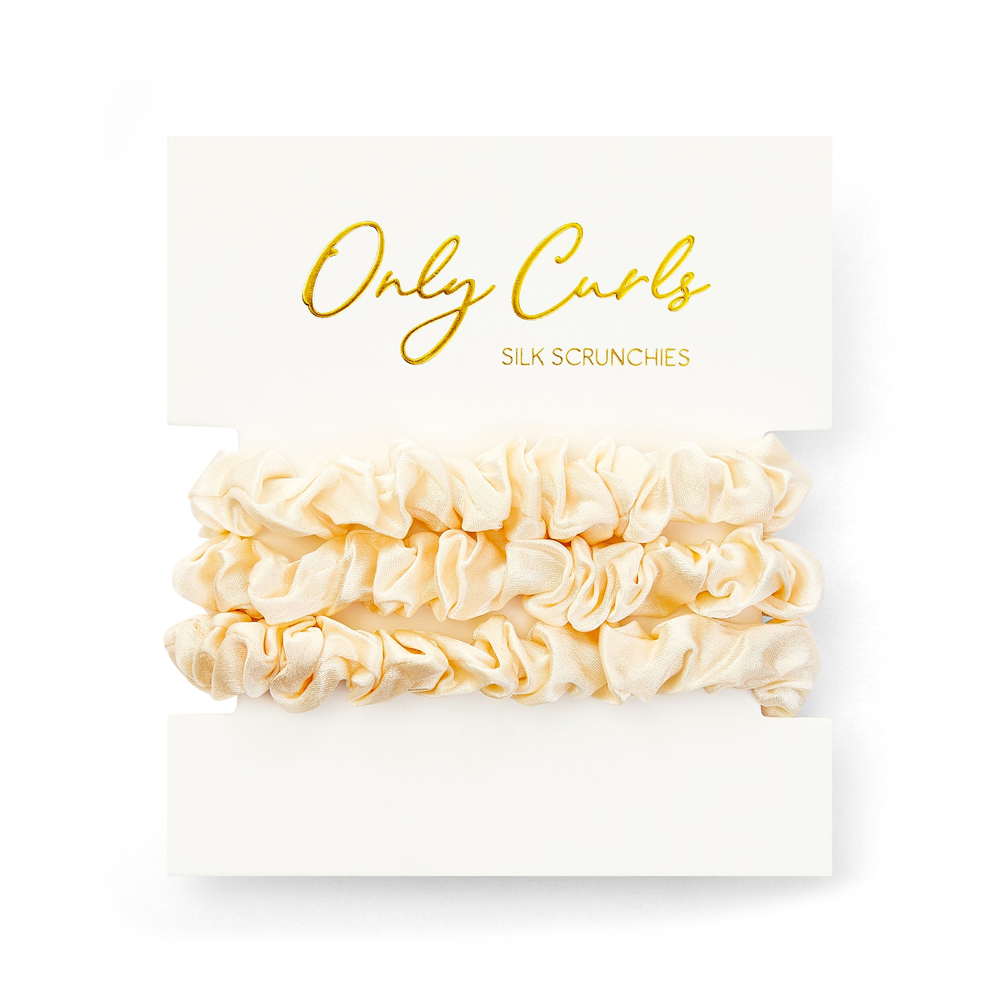 Only Curls Silk Scrunchies - Ivory Mini - Only Curls