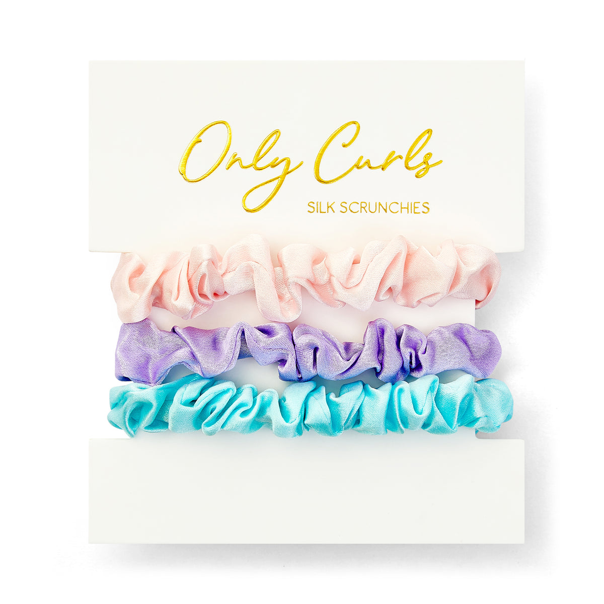 Only Curls Silk Scrunchies Multi Pack Mini - Aqua Lavender Pink - Only Curls