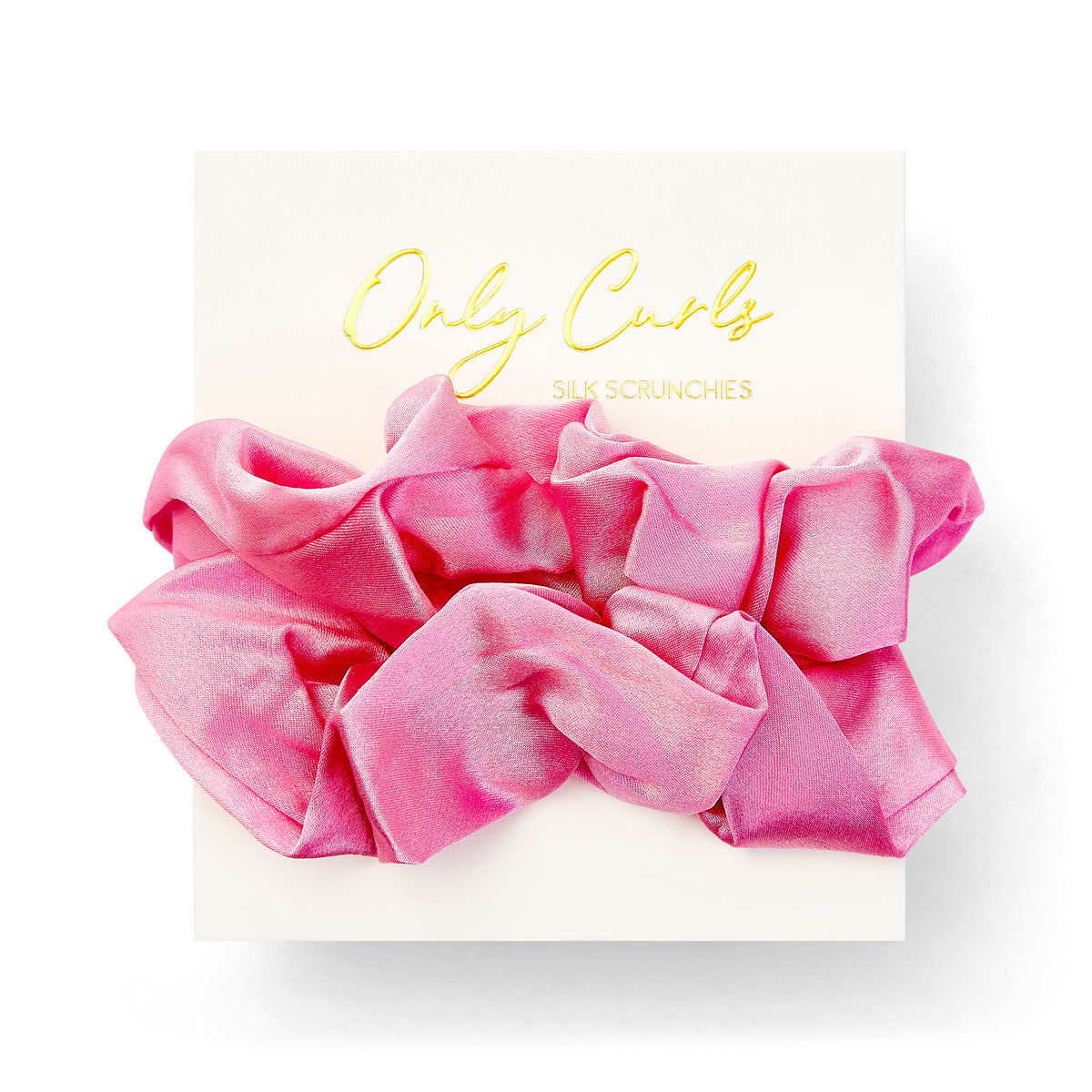 Only Curls Silk Scrunchies Hot Pink - Only Curls