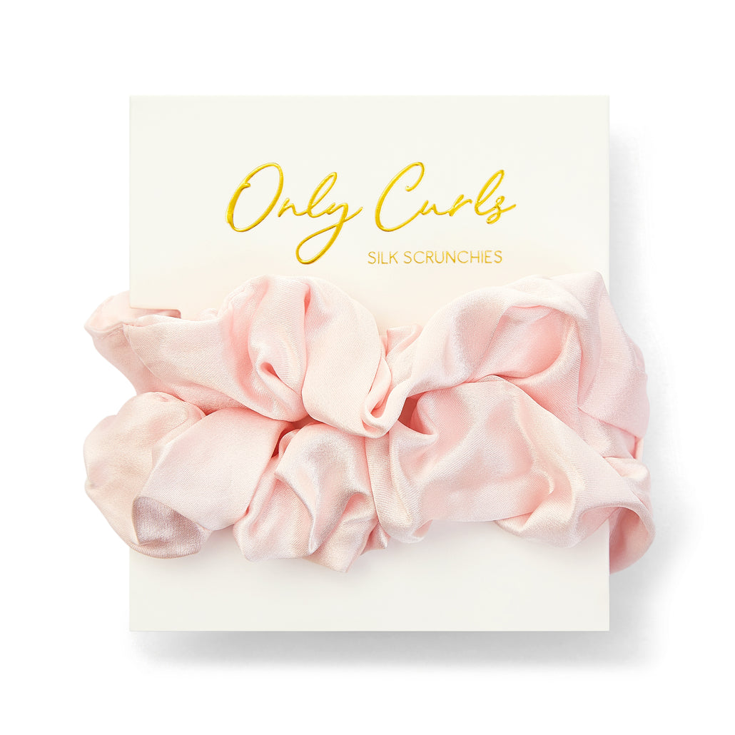 Only Curls Silk Scrunchies Pink - Large