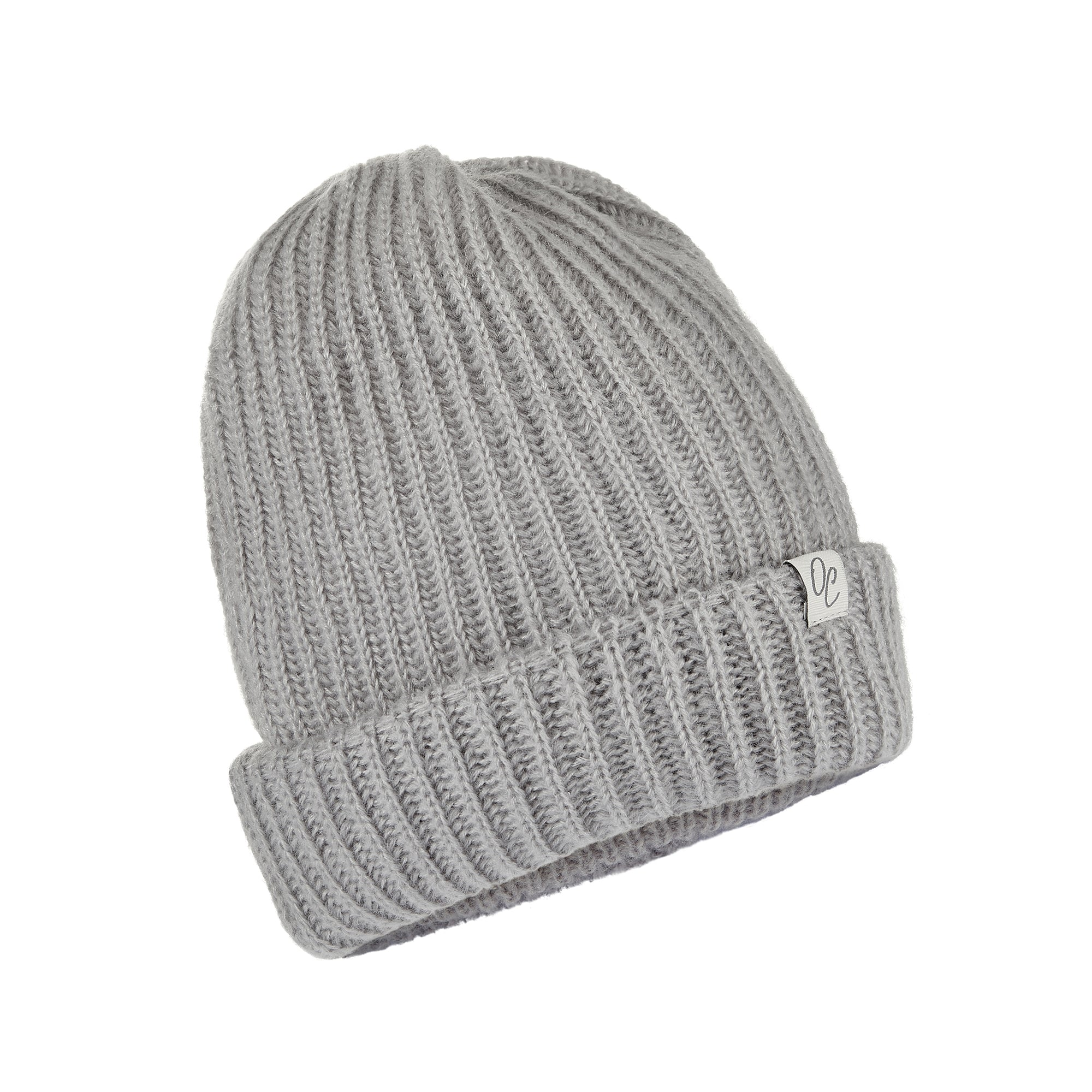 Only Curls Grey Satin Lined Knitted Beanie Hat