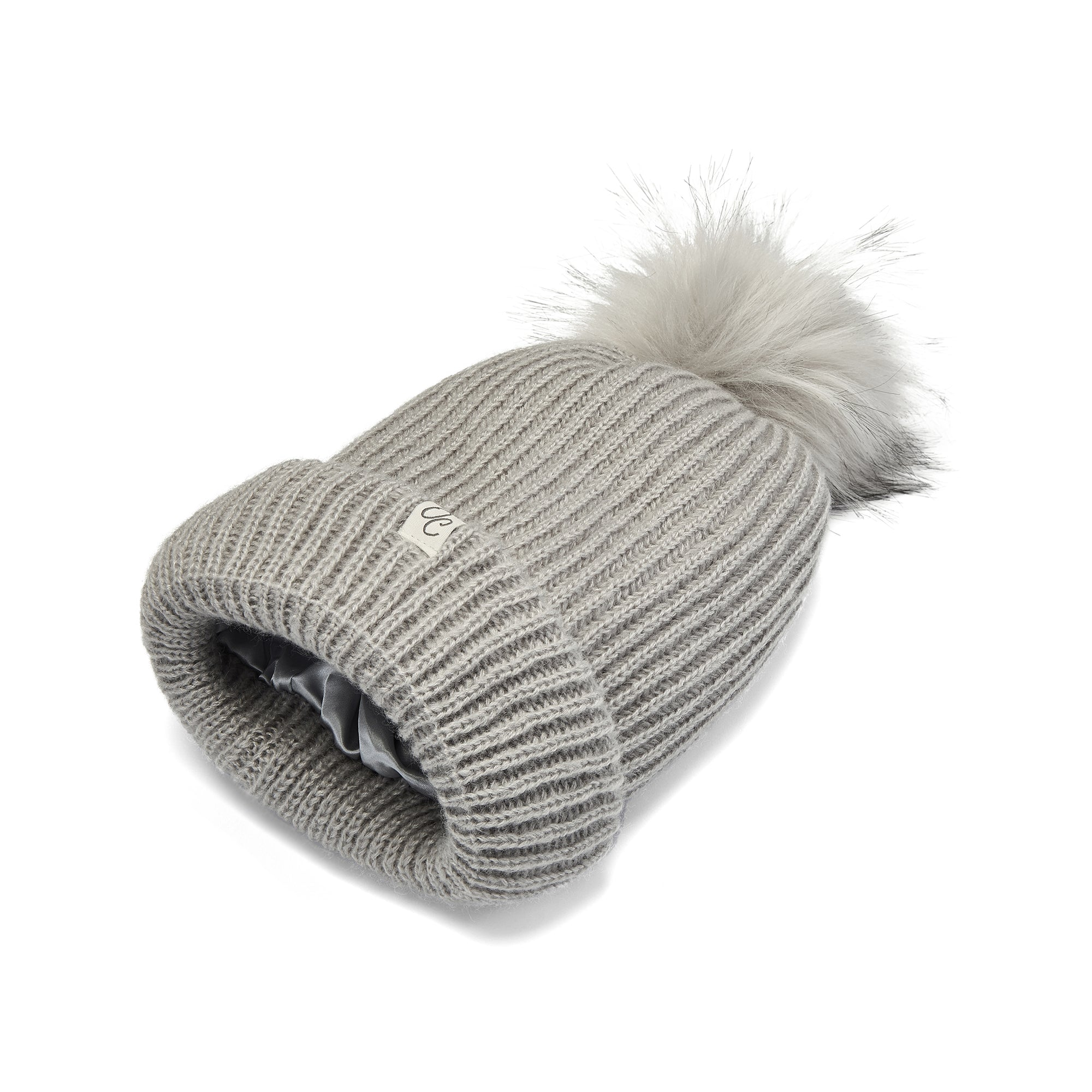 Only Curls Grey Satin Lined Knitted Beanie Hat with pom pom and showing the lining