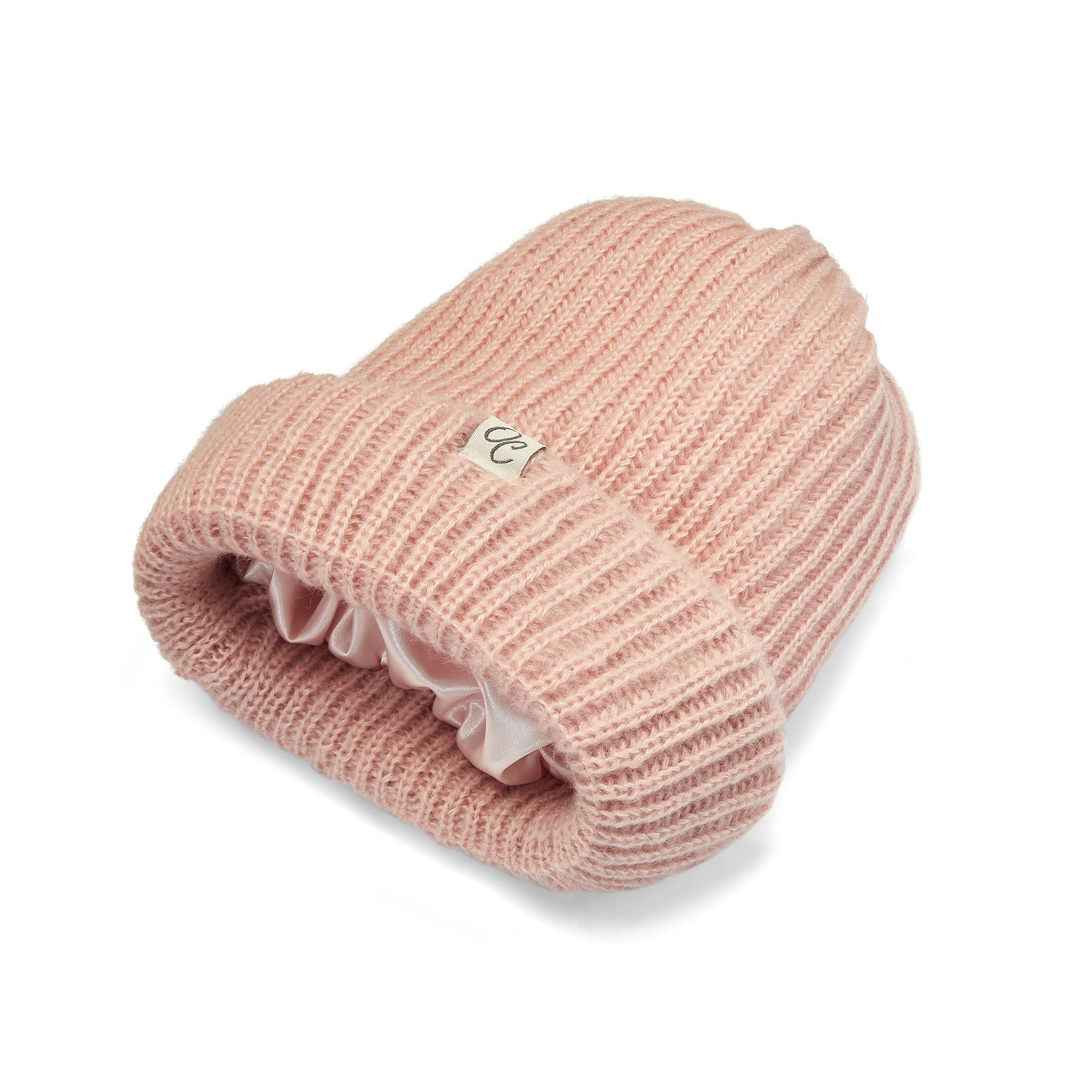 Only Curls Pink Satin Lined Knitted Beanie Hat