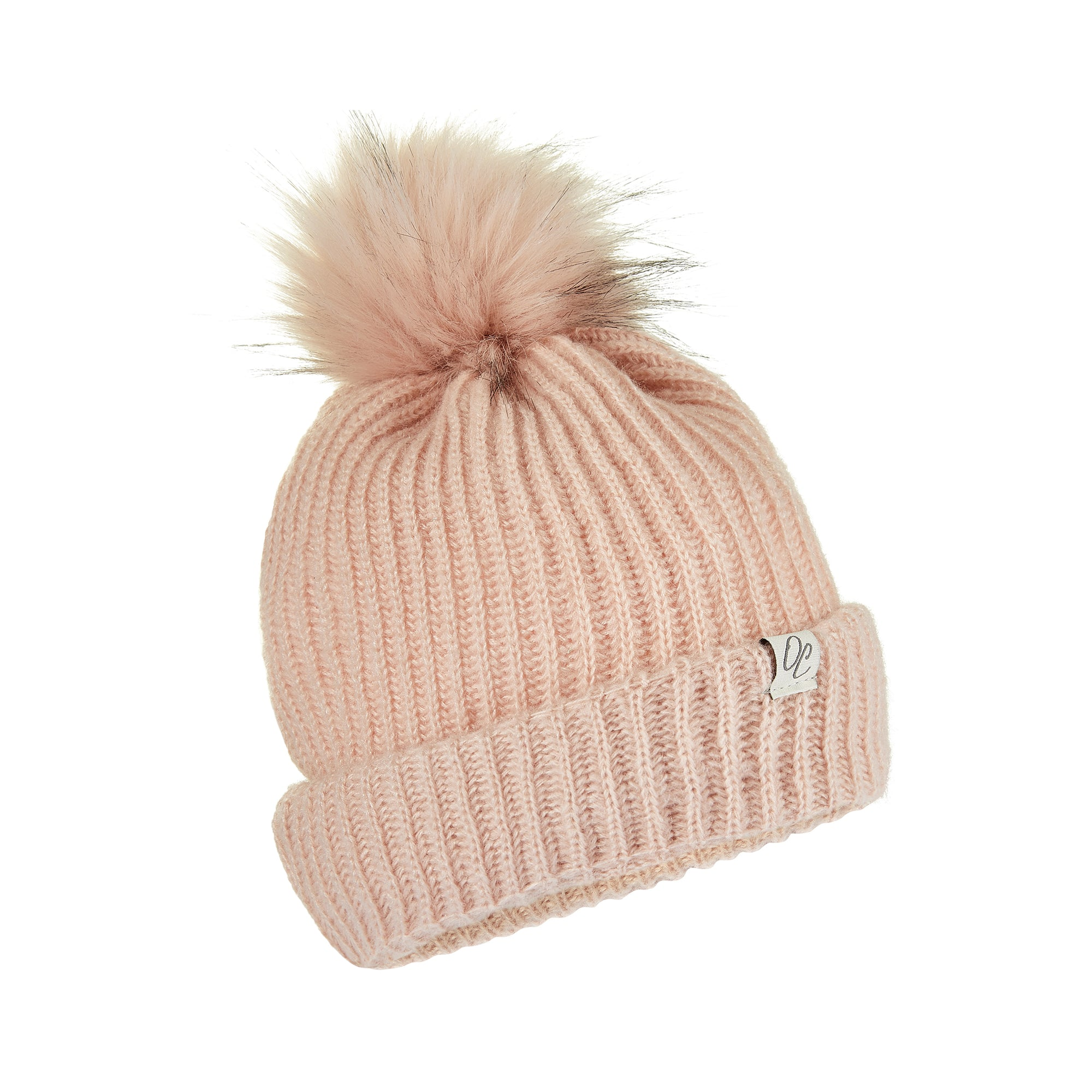 Only Curls Pink Satin Lined Knitted Beanie Hat with pom pom and showing the lining