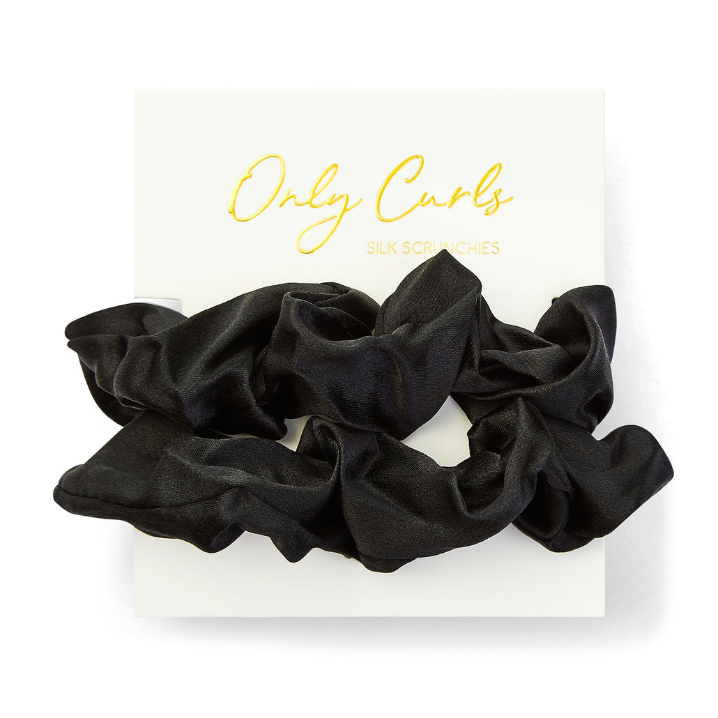 Only Curls Silk Scrunchies Black - large