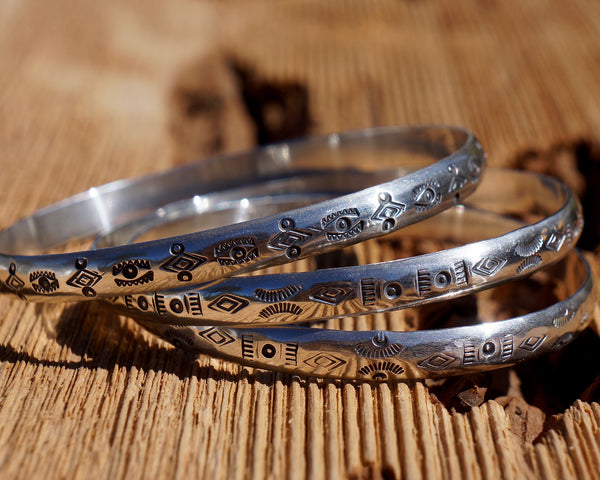 Thick Sterling Silver Stamped Bangle