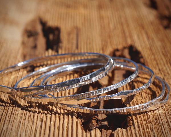 Thin Sterling Silver Stacking Bangles