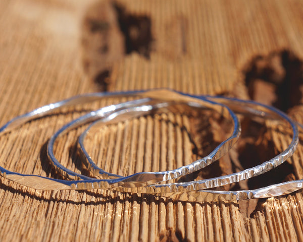 Set of 3 Thin Sterling Silver Stacking Bangles