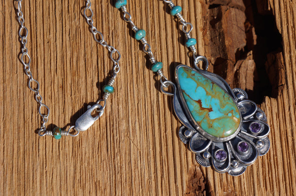 Royston Turquoise and Amethyst Necklace