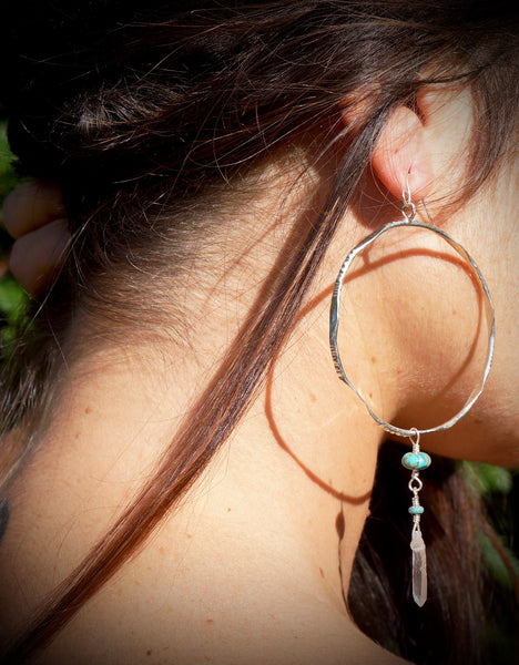 Sterling Silver Hoops with Quartz Crystal