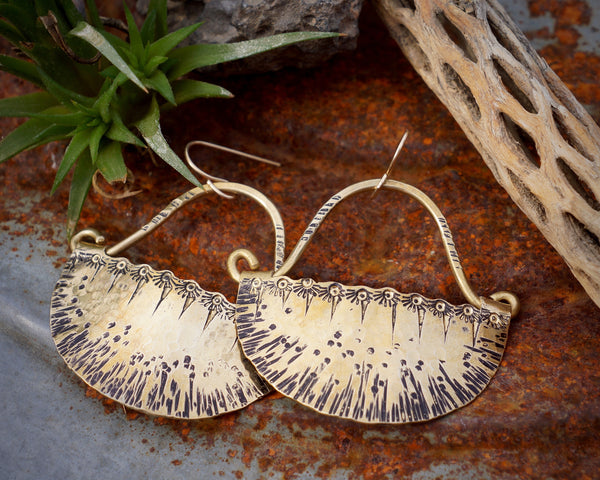 Eclipse Earrings in Brass