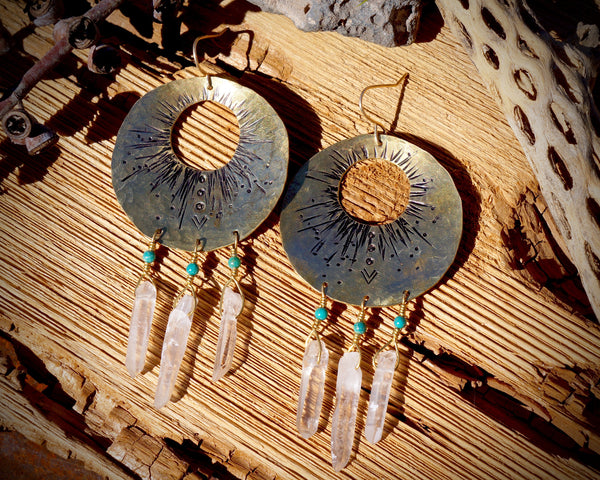 Solar Flare Hoops in Brass with Quartz