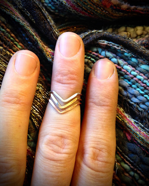 Chevron Midi Knuckle Ring in Sterling, Brass, or Copper