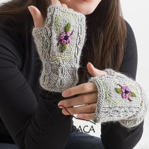 Embroidered Fingerless Mitts/Gloves