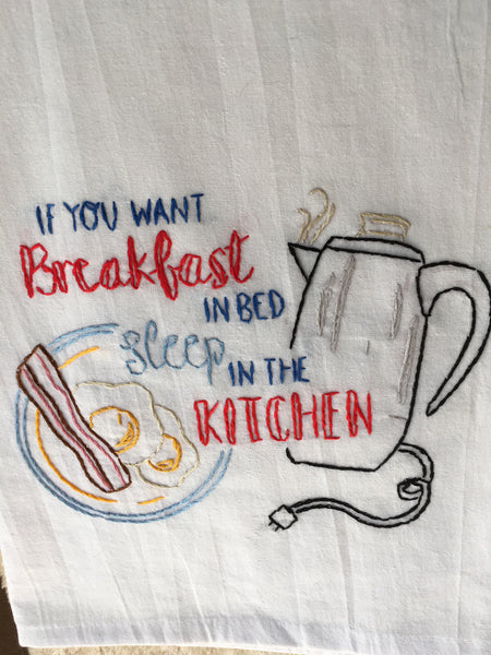Hand Embroidered Tea Towel