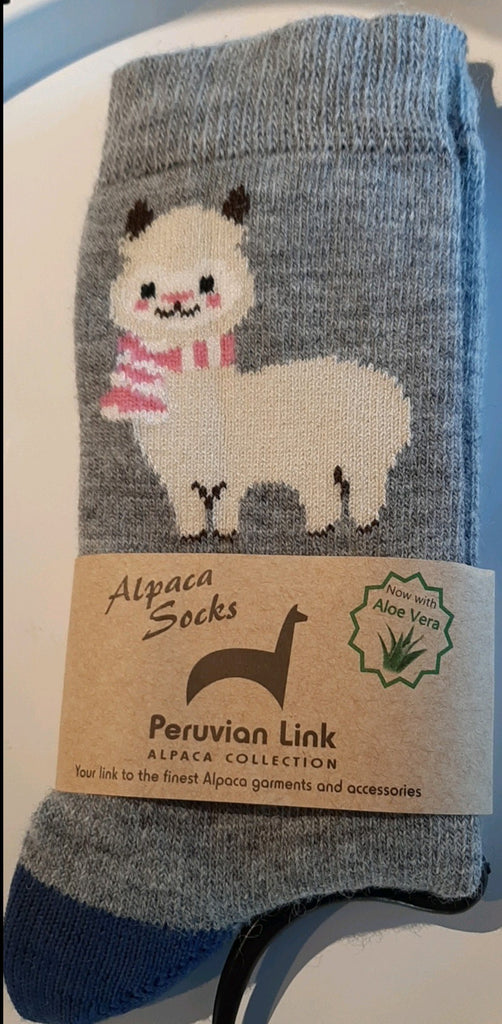 Cute Alpaca Socks in Grey