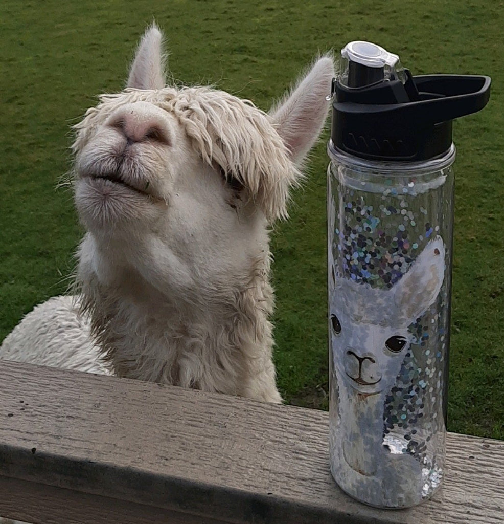 Alpaca Glitter Water Bottle