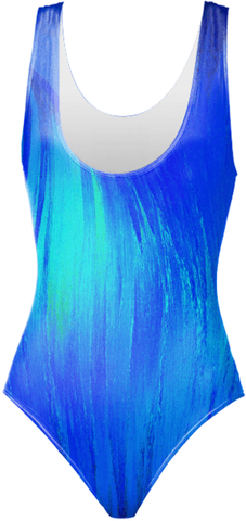 Blue Flame Crystal One-Piece Swimsuit by Crystal Art Outfitters