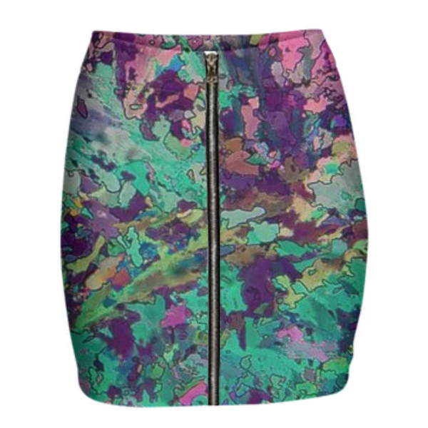 Springtime Garden Crystal Neoprene Mini Zip Skirt