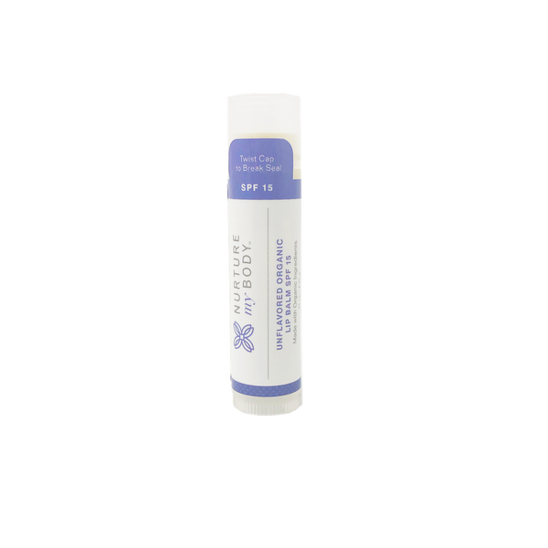 SPF 15 unflavored certified organic lip balm by Nurture My Body