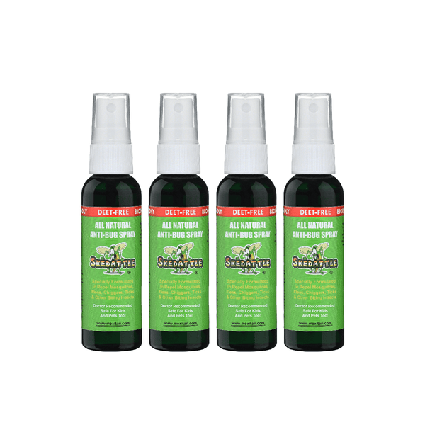 Skedattle® Anti-Bug Spray and Mosquito Repellent - Travel Size 4 Pack
