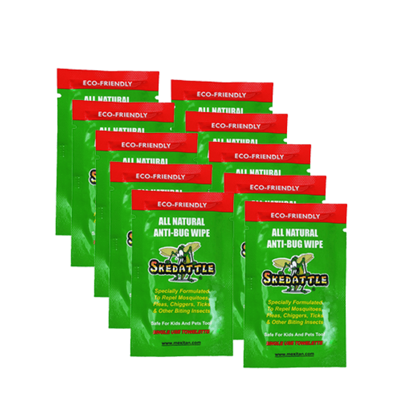 Skedattle® Single Use Anti-Bug Wipes 10 Pack - Mexitan Biodegradable Sunscreen