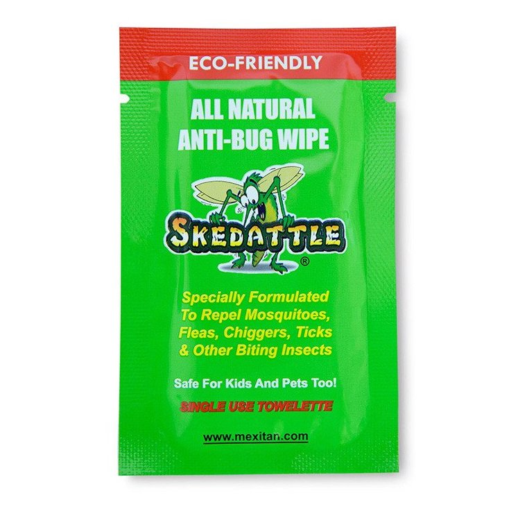 Skedattle® Single Use Anti-Bug Wipes - Mexitan Biodegradable Sunscreen