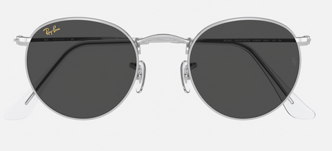 RAY-BAN : ROUND METAL LEGEND SHINY SILVER, RB3447 9198B1 50-25