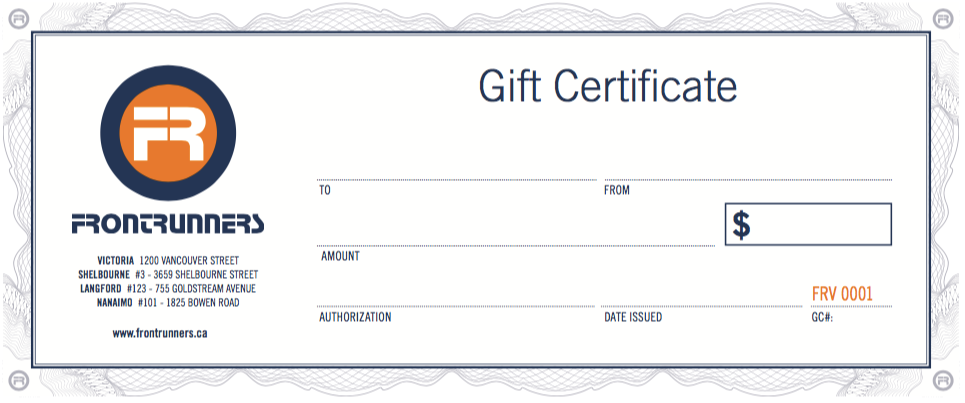 Frontrunners $150 Gift Certificate