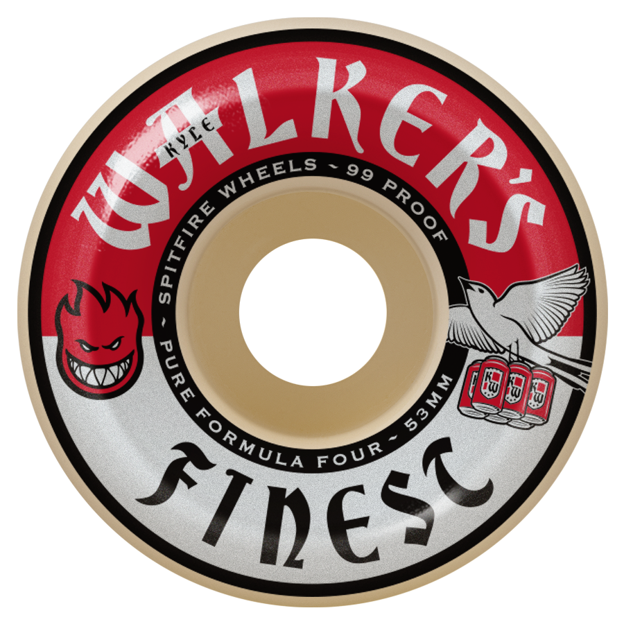 WHEELS / SPITFIRE / FORMULA FOUR / KYLE WALKER / WALKER'S FINEST - 99A -  CONICAL SHAPE - 53MM - (set of four)