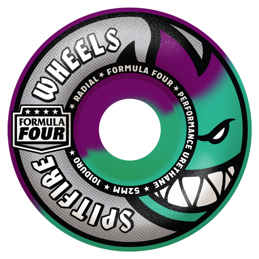 WHEELS / SPITFIRE / FORMULA FOUR - 101A - RADIAL SHAPE - PURPLE/ICEMINT SWIRL - 52MM - (set of four)
