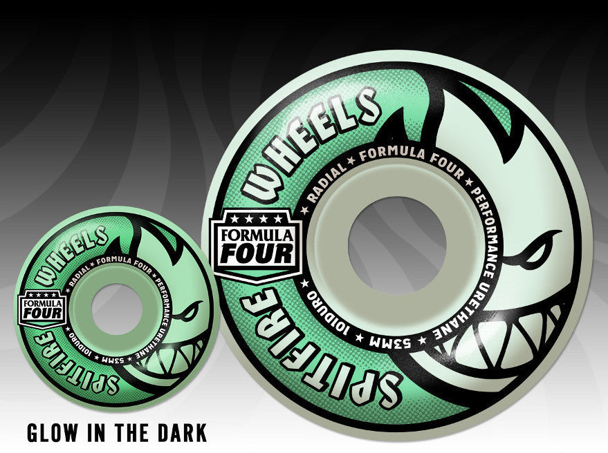 WHEELS / SPITFIRE / FORMULA FOUR - LIT BIGHEAD -GLOW IN THE DARK - 101A -  RADIAL SHAPE - 52MM - (set of four)