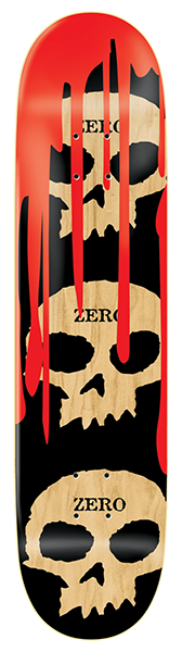 DECKS / ZERO / 3 SKULLS WITH BLOOD - NATURAL - 8.125""