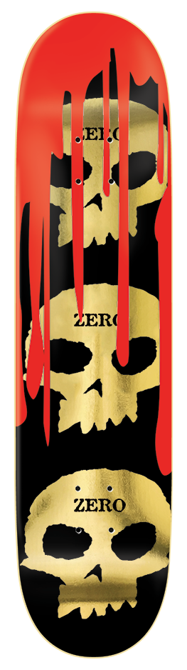 DECKS / ZERO / 3 SKULLS WITH BLOOD - GOLD - 8.5""