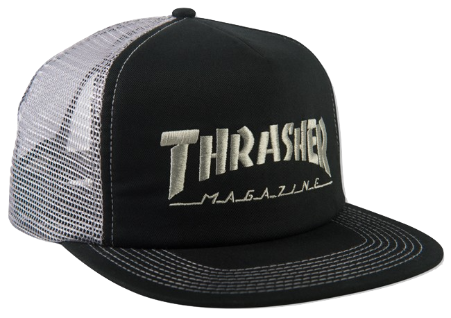 HATS / THRASHER / EMBROIDERED LOGO TRUCKER - BLACK/GREY
