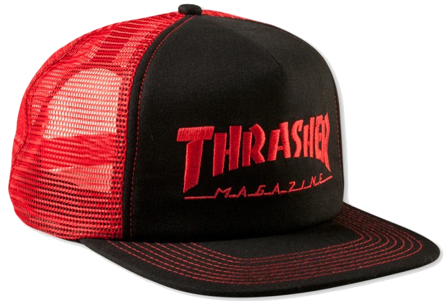 HATS / THRASHER / EMBROIDERED LOGO TRUCKER - BLACK/RED