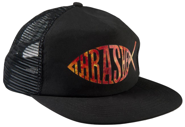 HATS / THRASHER / FISH MESH TRUCKER - BLACK