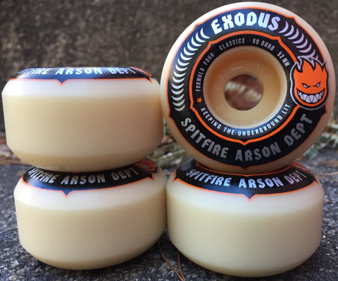 WHEELS / EXODUS X SPITFIRE / FORMULA FOUR - 99A -  CLASSIC SHAPE  - 52MM - (set of four) (WHEELS ALWAYS SHIP FREE)