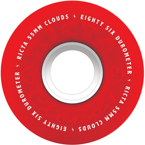 WHEELS / RICTA / CLOUDS - RED/WHITE 86A - 55MM - (set of four)