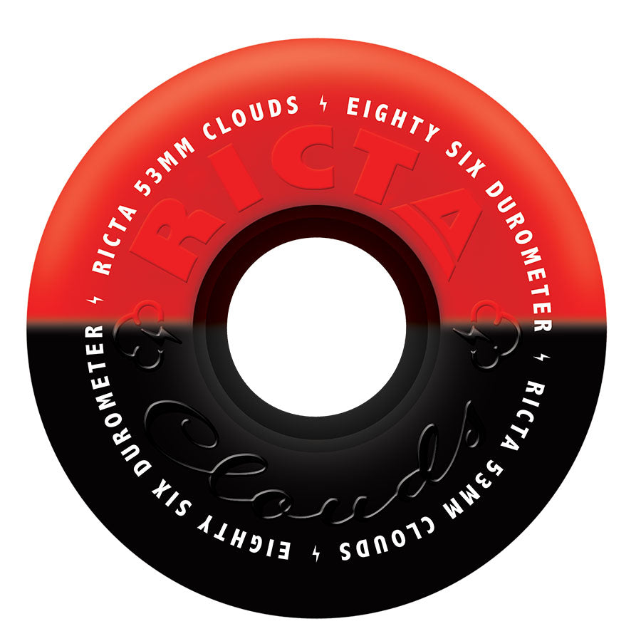 WHEELS / RICTA / CLOUDS / DUOTONES - RED/BLACK - 86A - 53MM - (set of four)
